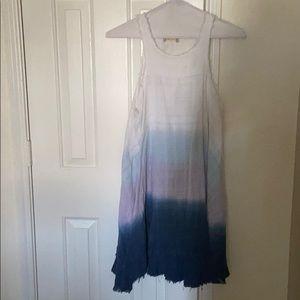CLEARANCE: Blue tie dyed dress w/fringes at bottom